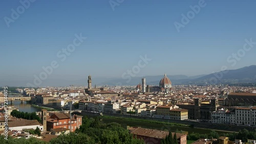 Poster Florence Time lapse view from Piazzale Michelangelo Italy