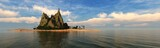 panorama of a beautiful island in the ocean, light over the sea, palm trees on an island, an uninhabited island, 3D rendering  - 172348364