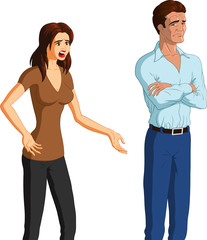 Vector illustration of a desperate woman begging her unresponsive, reluctant husband for forgiveness.