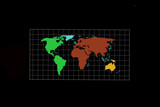 Abstraction of a world map on a dark background