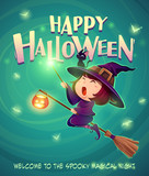 Happy Halloween. Halloween flying little witch. Girl in Halloween costume holds a magic wand. - 172359344