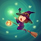 Halloween flying little witch. Girl in Halloween costume holds a magic wand. - 172359362