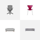 Realistic Settee, Boss Armchair, Couch And Other Vector Elements. Set Of Furniture Realistic Symbols Also Includes Office, Seating, Sofa Objects. - 172359943