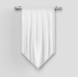 White blank Vertical Flag Banner on wooden background Mock up template. 3d illustration. - 172363907