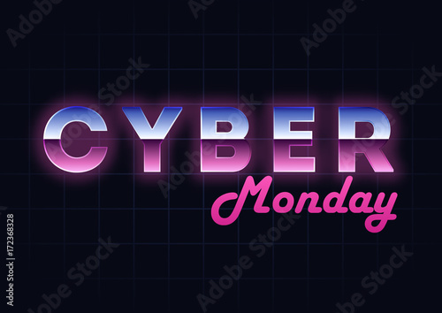 Cyber Monday sale hi-tech background, online shopping and marketing concept, technology vector illustration. Retro Chrome Text Effect. Retailing and discount theme. Flyer, poster template with letters