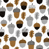 Acorn seamless pattern with leaves. Vector illustration. Autumn surface decoration. - 172373709