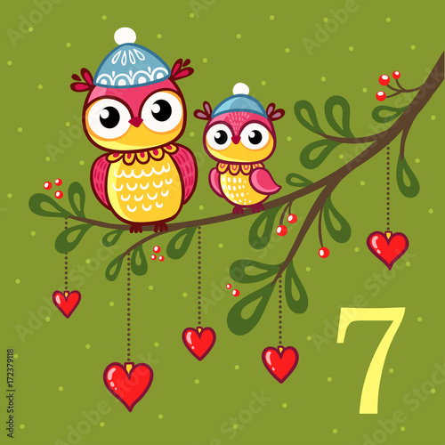 Vector Christmas advent calendar in childrens style. Pair of cute owls sit on a branch with Christmas toys. Illustration with birds.