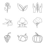 Pollination of flower icons set, outline style - 172380712