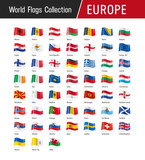 Flags of Europe, waving in the wind - World flags collection