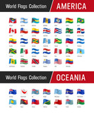 Set of American and Oceanian flags - World flags collection - 172381107