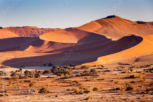 Wall mural Desert sand dunes and landscape, Namib, Namibia, Africa
