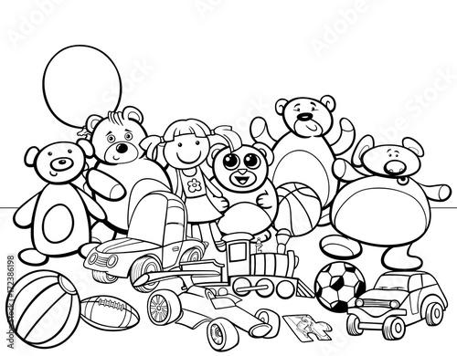 Fotobehang Auto toys group cartoon coloring book
