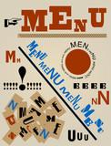 modern art inspired restaurant menu design, vector
