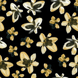 Abstract watercolor golden and black flowers seamless pattern - 172388127