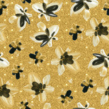 Abstract watercolor golden and black flowers seamless pattern - 172388169