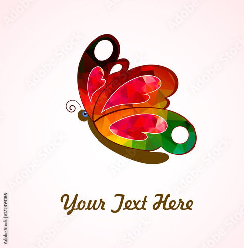 Staande foto Vlinders in Grunge Abstract Butterfly Vector Shape