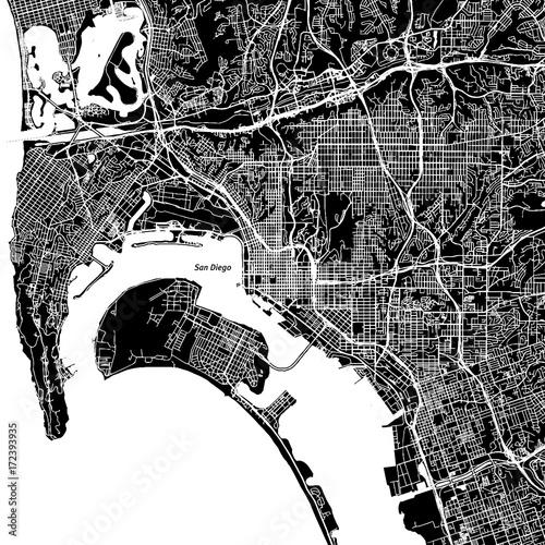 San Diego, California. Downtown vector map.