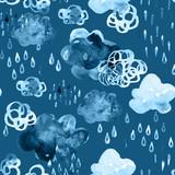 Watercolor fall shower seamless pattern. - 172405574