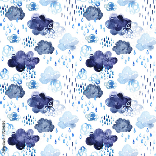 Watercolor fall shower seamless pattern. - 172405550