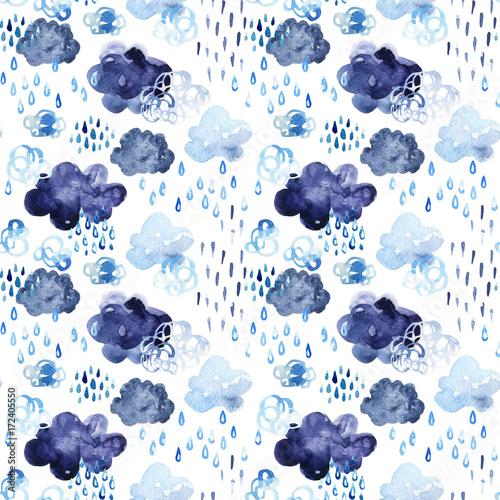 Watercolor fall shower seamless pattern. - 172405550