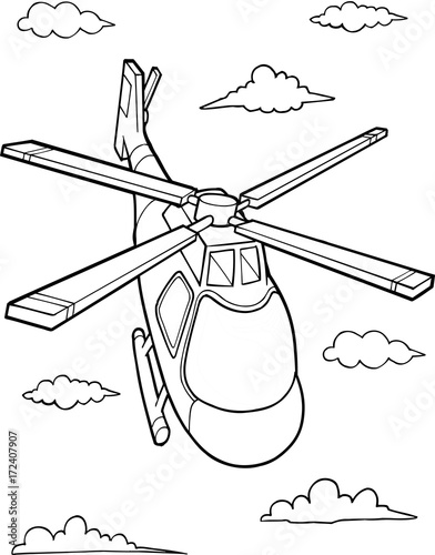 In de dag Cartoon draw Cute Helicopter Vector Illustration Art