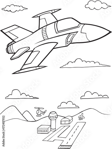 Staande foto Cartoon draw Cute Military Jet Aircraft Vector Illustration Art