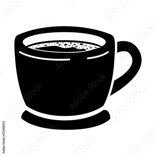 cup of coffee with handle black silhouette vector illustration