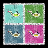 Set of flat shading style icons kids duck automatic