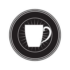 decorative circular emblem of porcelain mug of coffee with handle black silhouette vector illustration