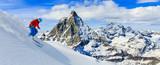 Skiing with amazing view of swiss famous mountains in beautiful winter snow. Matterhorn, Zermatt, Swiss Alps. - 172409503