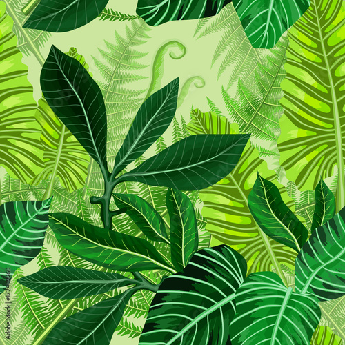 Seamless pattern with tropical palm leaves - 172409960