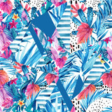 Abstract geometrical shapes with exotic flowers and leaves background - 172410199