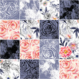 Abstract squares seamless pattern: watercolor, ink doodle flowers, leaves, weeds. - 172410758