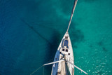 View from high angle of sailing boat. Aerial photography of ship deck - 172410993