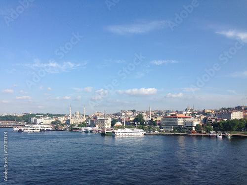 Golden Horn seen from the Halic Metro Bridge in Istanbul Turkey. Poster