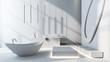 Bright spacious modern bathroom with bathtub