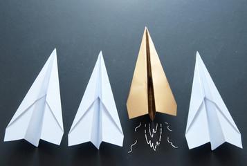 Paper plane leader concept