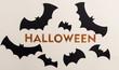 Typeface text for halloween logo handwritten on white background,