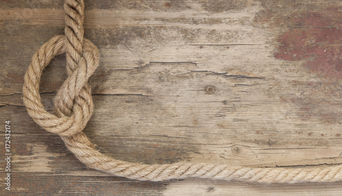 Spoed canvasdoek 2cm dik Schip Ship rope on the wooden background