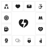 Set Of 13 Editable Amour Icons. Includes Symbols Such As Like, Happy, Decoration And More. Can Be Used For Web, Mobile, UI And Infographic Design. - 172432725