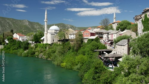 Sticker View from The Stari Most (Old Bridge) Mostar Bosnia and Herzegovina