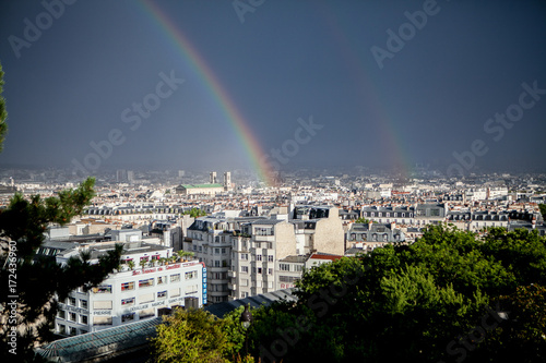 Fridge magnet Double Rainbow over Paris