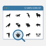 Set Of 12 Editable Animal Icons. Includes Symbols Such As Wolf, Horse, Eagle And More. Can Be Used For Web, Mobile, UI And Infographic Design. - 172438501