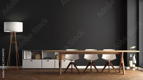 Esszimmer mit großem Holztisch vor dunkelgrauer Wand - 172444710