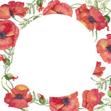 red poppies illustration of watercolor, for a postcard, cloth, packing paper, book, album, wreath, frame,  circle  background