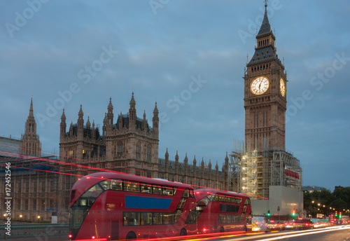 Westminster bridge, Big Ben in the morning Poster