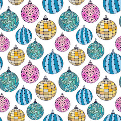 Seamless bright pattern with Christmas balls. New Year wrapping paper.