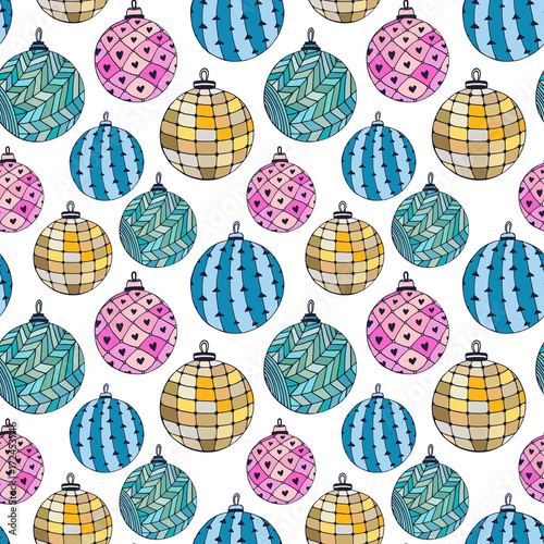 Staande foto Kunstmatig Seamless bright pattern with Christmas balls. New Year wrapping paper.