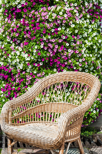 Wicker chair in garden Poster