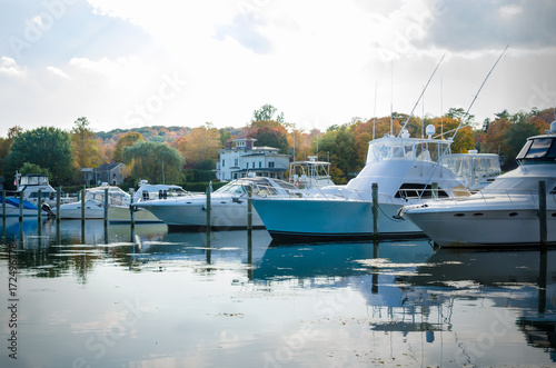 Yachts in Harbour on a Cloudy Fall Day Poster